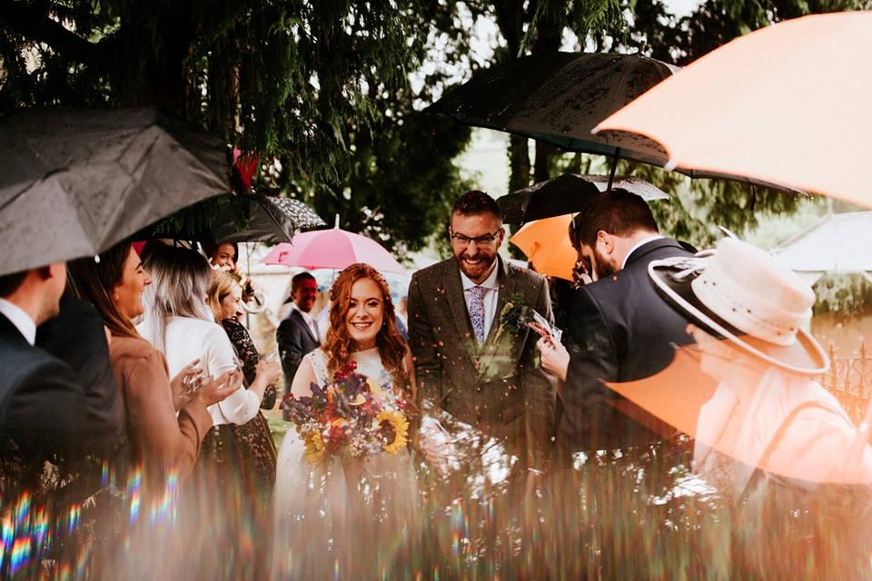 Autumn Wedding, Bride & Groom with Umbrellas