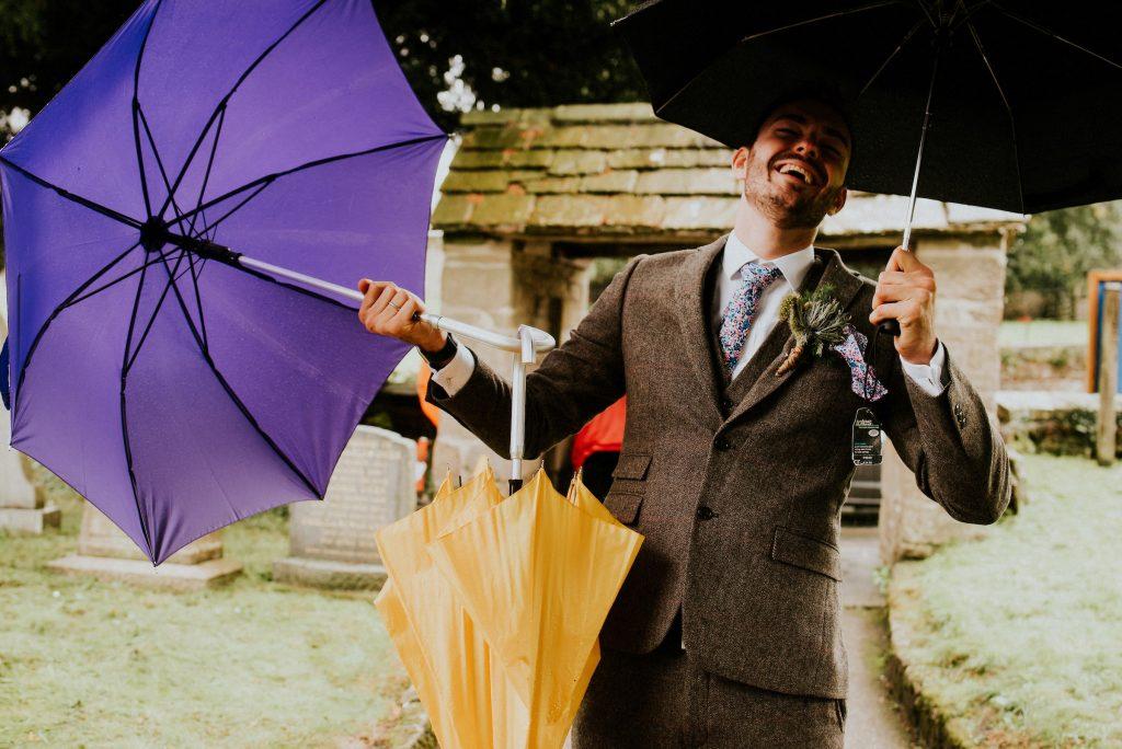 Umbrella & Confetti Shot, Burnsall Wedding