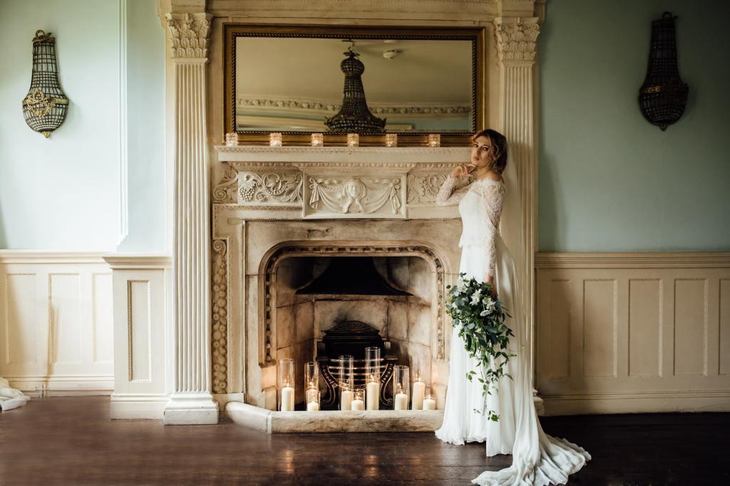 Botanical Wedding - Woodborough Hall - Fireplace