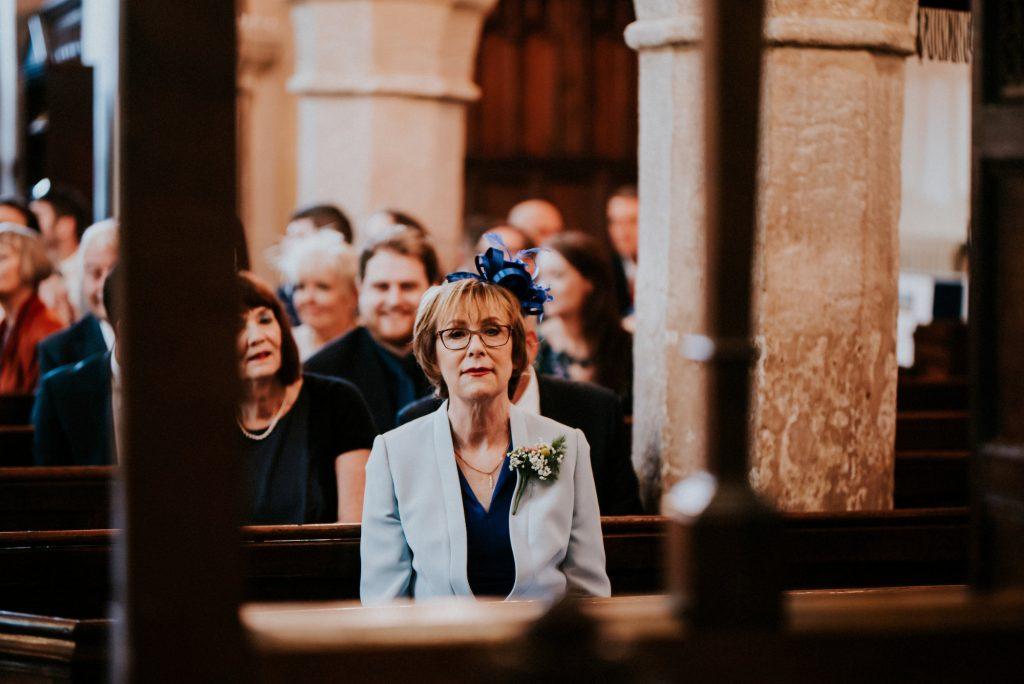 Bride's mum in church