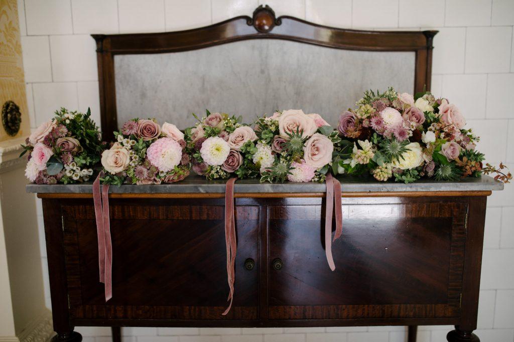 Wedding bouquets on a dresser