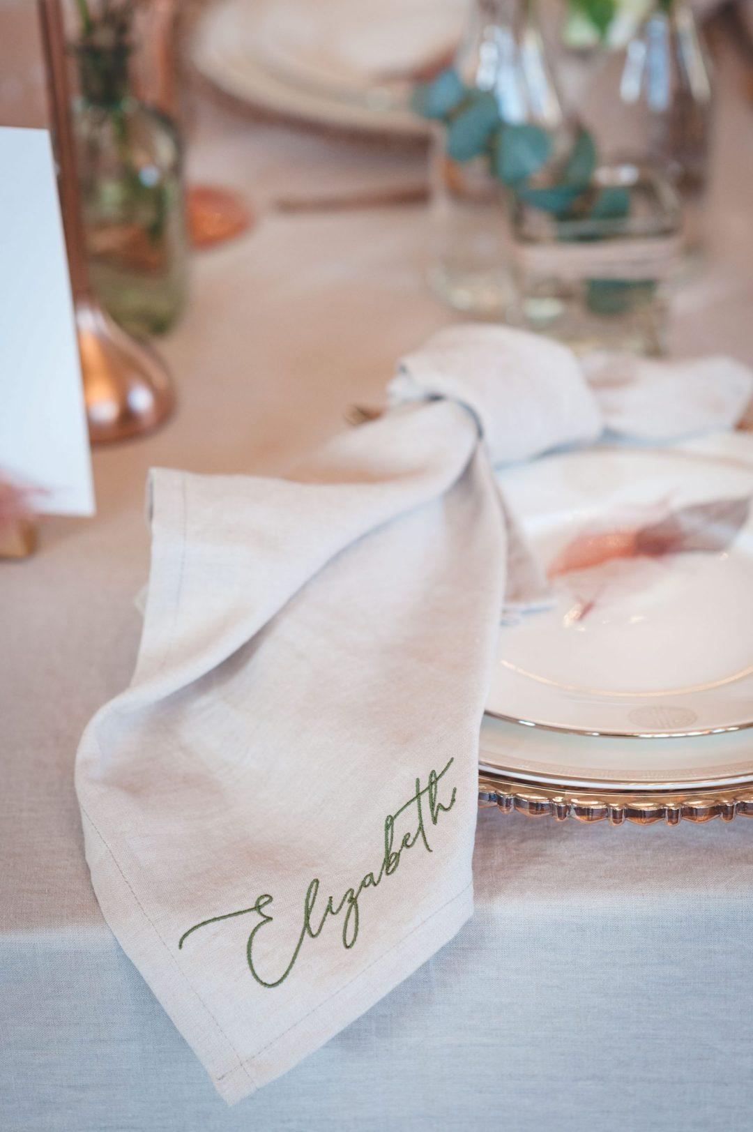 Embroidered linen napkin