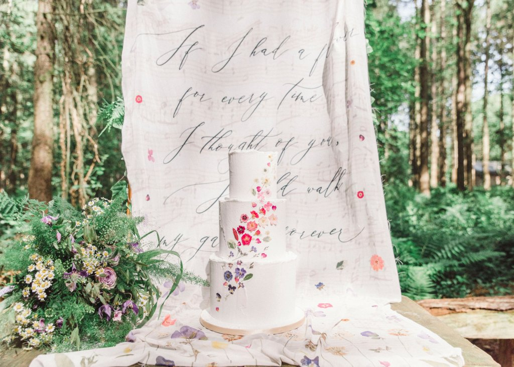 Fabric Backdrop with Wedding Poem