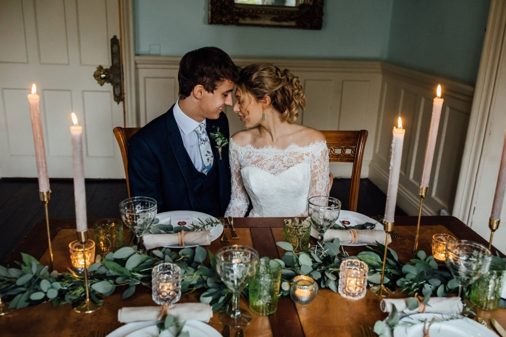Bride & Groom at an Intimate table setting
