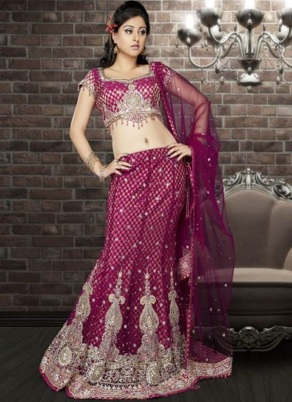 Floral Printed Net Lehenga Designs For Indian Brides 2016 8