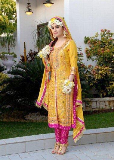 Pakistani Wedding Mehndi Dress Designs 2016 6