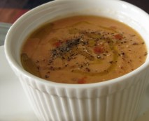 """Black Prince"" Tomato Gazpacho, Extra Virgin Olive Oil and Tabasco"
