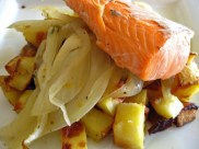Baked salmon with fennel orange zest, on top of roasted potatoes.