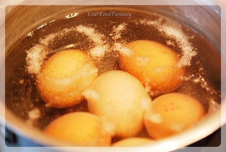 Boiling eggs for Avocado Eggs Recipe at your food fantasy| Yourfoodfantasy.com