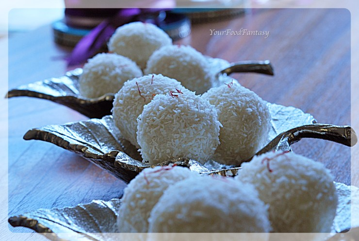 Instant coconut ladoo with desiccated coconut at yourfoodfantasy.com by meenu gupta   Like us on https://www.facebook.com/yourfoodfantasy