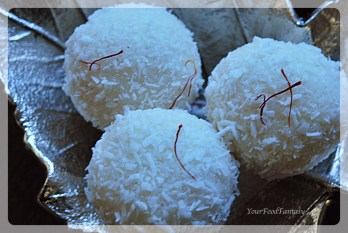 Quick, easy and delicious instant coconut ladoo with desiccated coconut at yourfoodfantasy.com