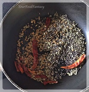 Roasting Spices for achari gosht | your food fantasy