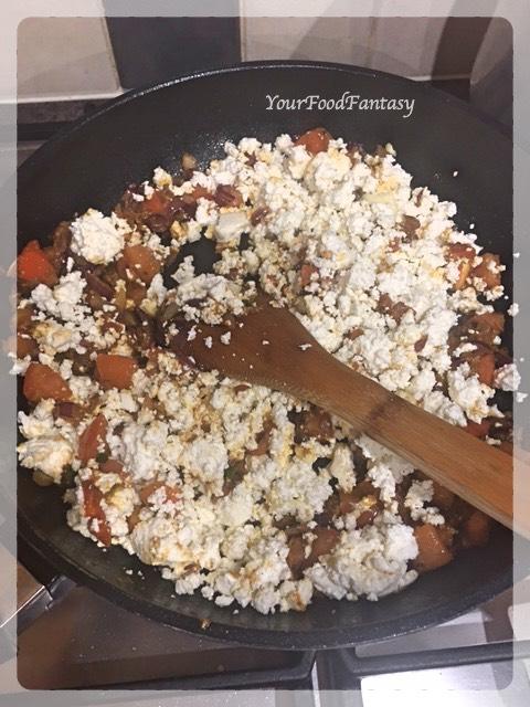 Adding Crumbled Paneer   Paneer Bhurji Recipe   Your Food Fantasy
