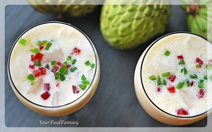 Custard Apple Recipe - Milkshake Recipe - how-to-make-custard-apple-milkshake -YourFoodFantasy.com