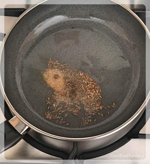 Frying Cumin Seeds for filling of Matar Kachori   Your Food Fantasy