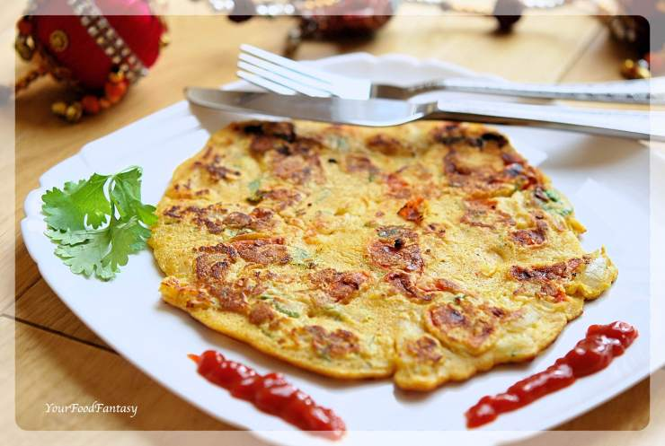 Vegetarian Omelette - Besan Ka Cheela | YourFoodFantasy.com by Meenu Gupta