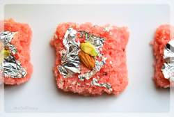 Rose Coconut Burfi Recipe   Indian Sweet Recipe   YourFoodFantasy.com by Meenu Gupta