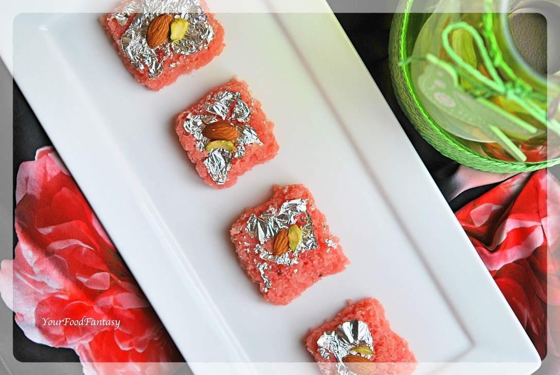 Rose Coconut Burfi Recipe | Indian Sweet Recipe | YourFoodFantasy.com