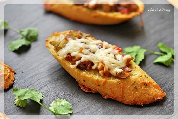 Cheesy Mushroom Bruschetta Recipe   YourFoodFantasy.com