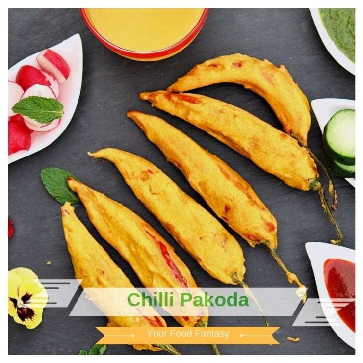 Stuffed Mirchi pakoda/ Red Chilli fritters