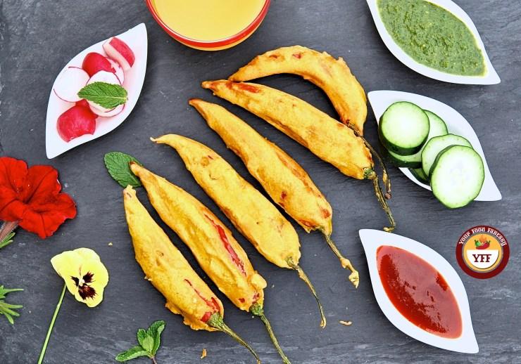 Stuffed Mirchi Pakoda | Red Chilli Fritters