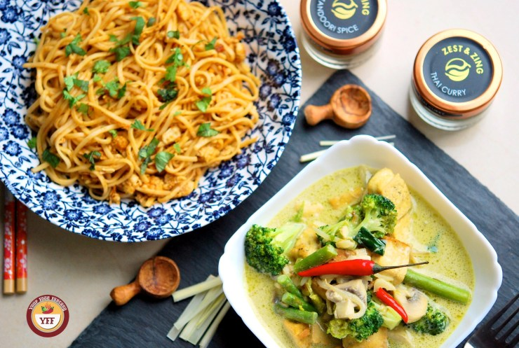 Fusion Recipes - Tandoori Egg Noodles and Green Thai Curry Recipe | YourFoodFantasy.com
