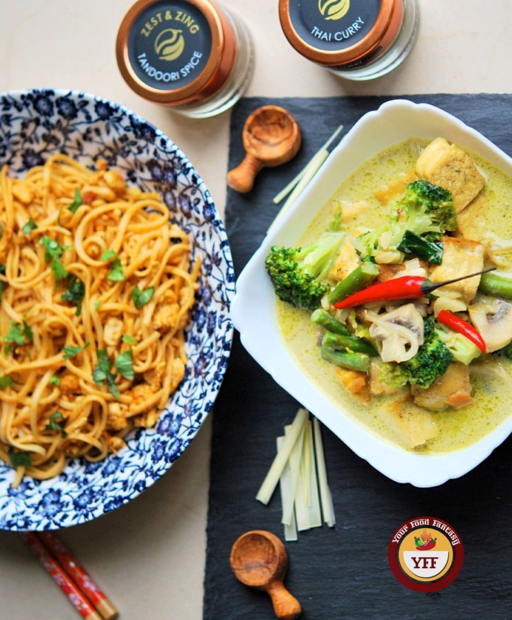 Fusion Recipes | Tandoori Egg Noodles and Green Thai Curry Recipe | YourFoodFantasy.com