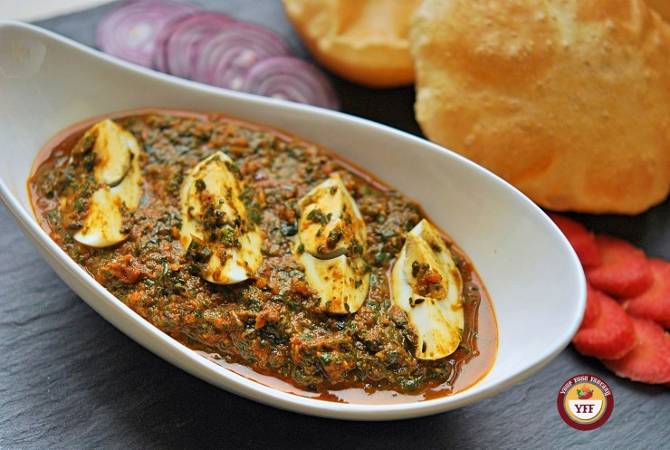 Spinach Egg Curry - Egg Curry Recipe | YourFoodFantasy.com by Meenu Gupta