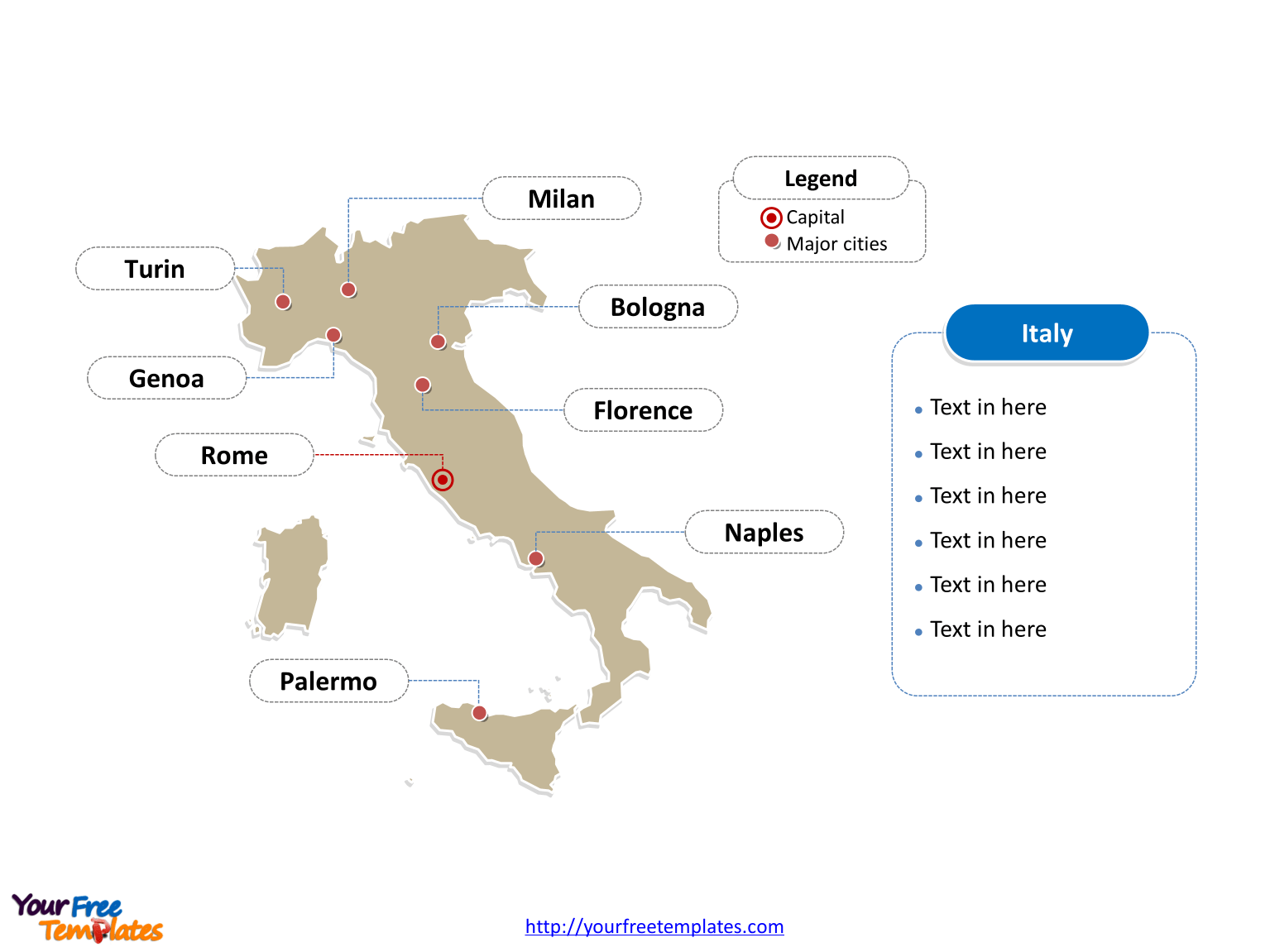 Free Italy Powerpoint Map