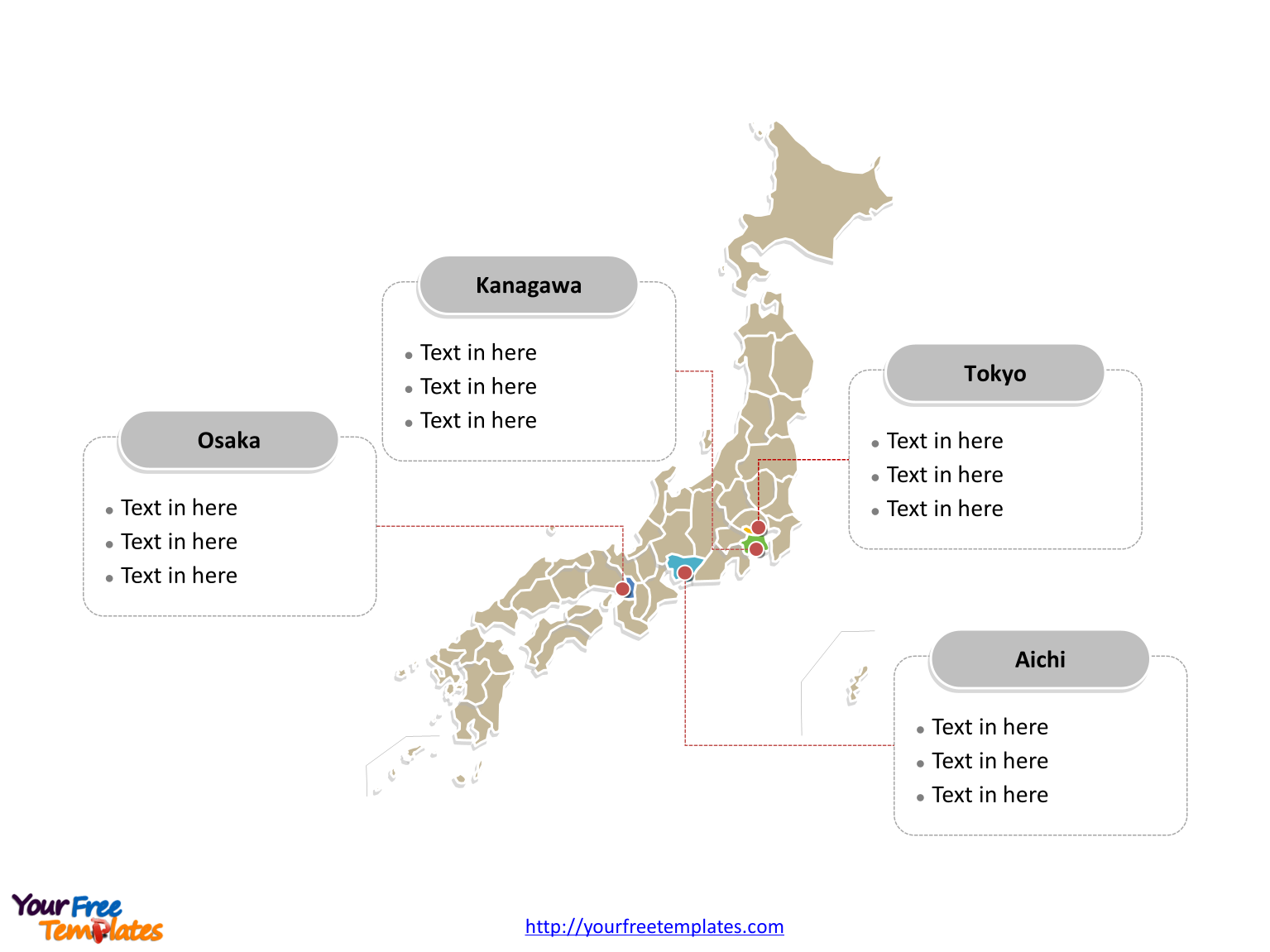 Free Japan Editable Map Free Powerpoint Templates