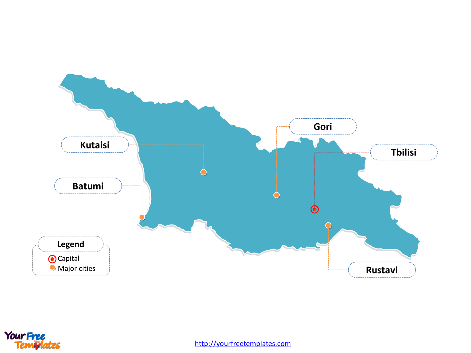 hight resolution of georgia outline map labeled with cities