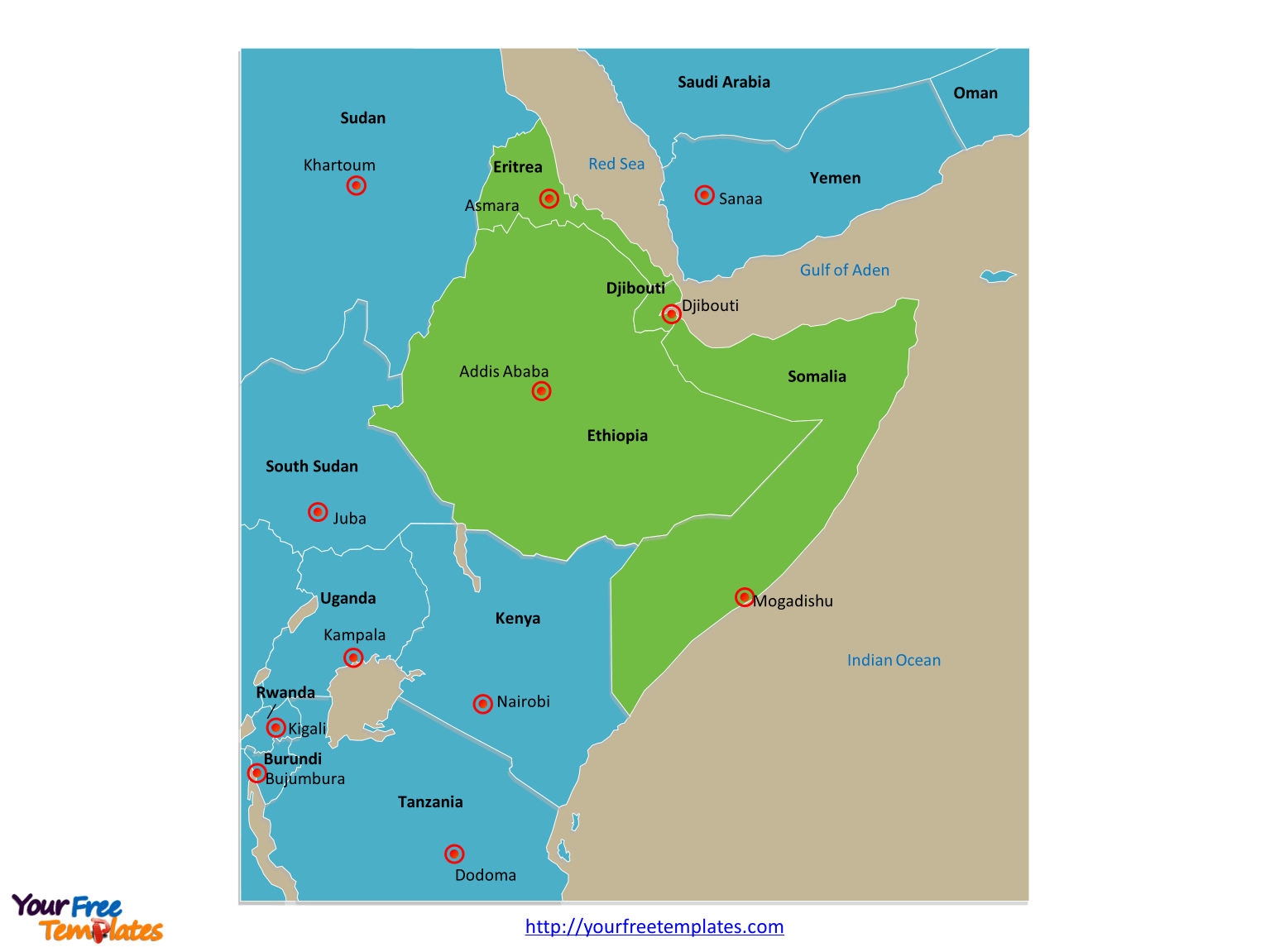 Labeled Political Map Of Africa With Capitals
