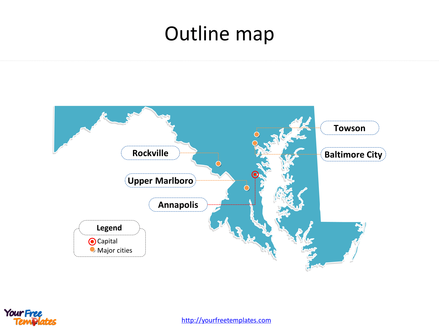 Maryland Map Powerpoint Templates