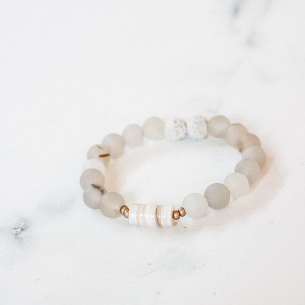 White Stackable Beaded Bracelet