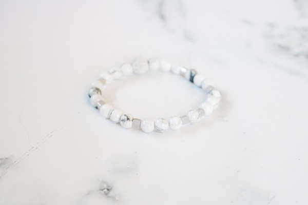 Gray & White Stackable Beaded Stretch Bracelet