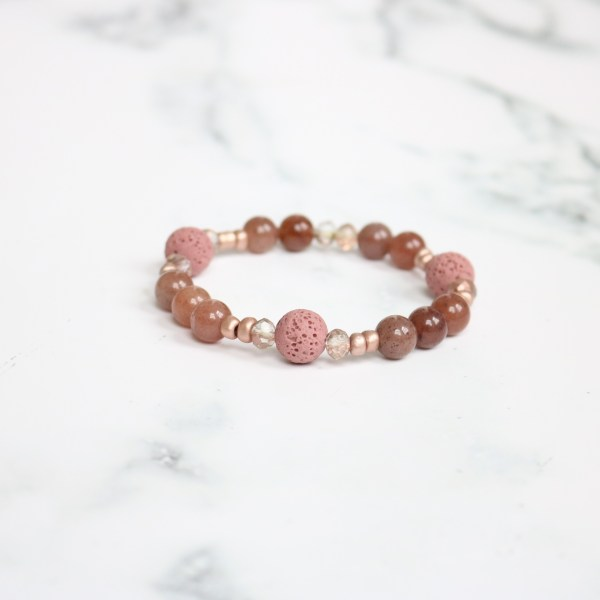 mauve stackable beaded stretch bracelet