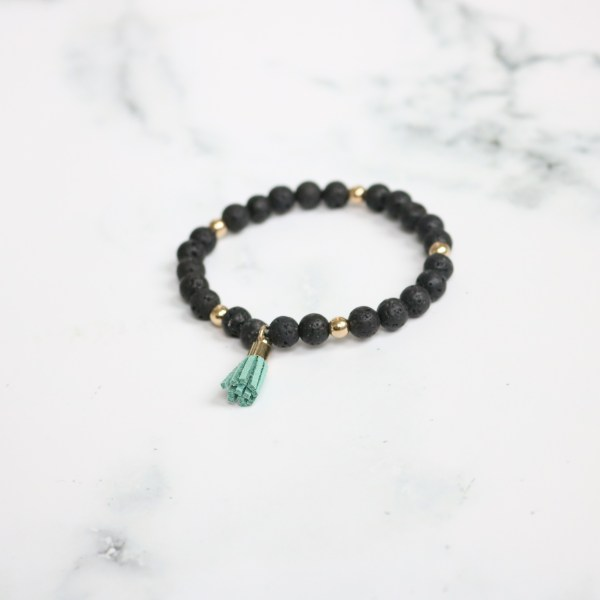 Small Black Stackable Beaded Stretch Bracelet