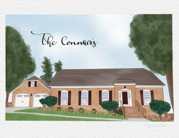 Custom Watercolor House Portrait