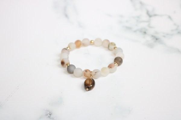 neutral stackable beaded stretch bracelet