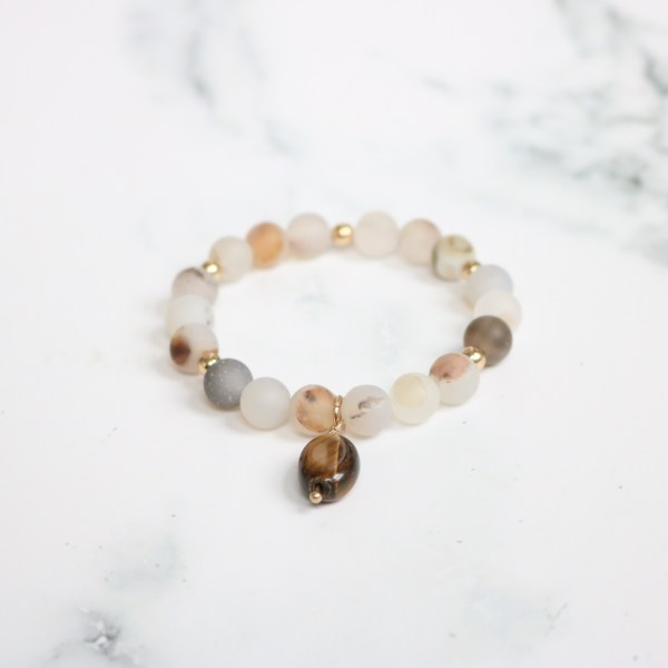 neutral stackable beaded stretch bracelet