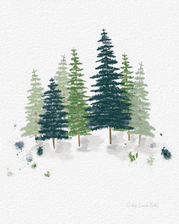 Watercolor Forest Pines