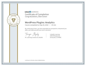 Certificate of Completion for Wordpress Analytic Plugins