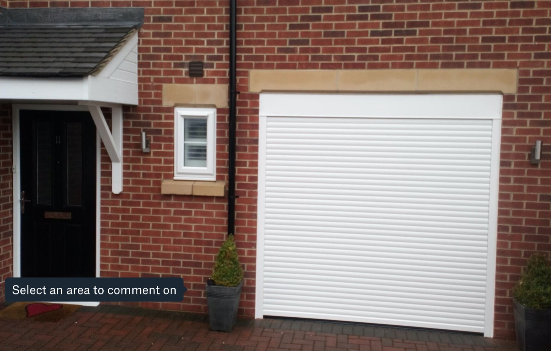 Single white roller garage door