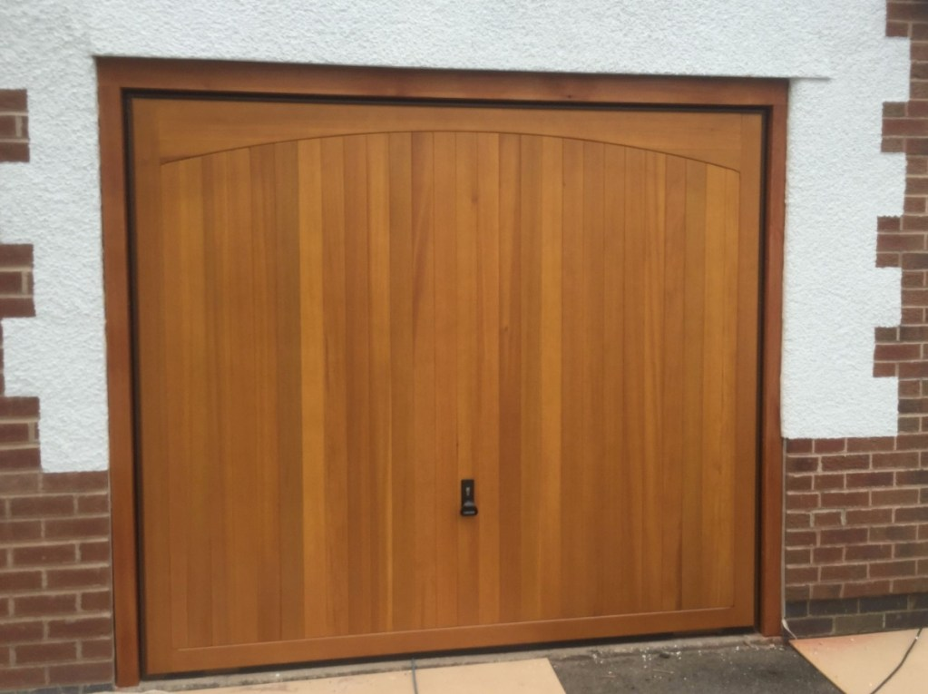 Vertical Ribbed wooden garage door