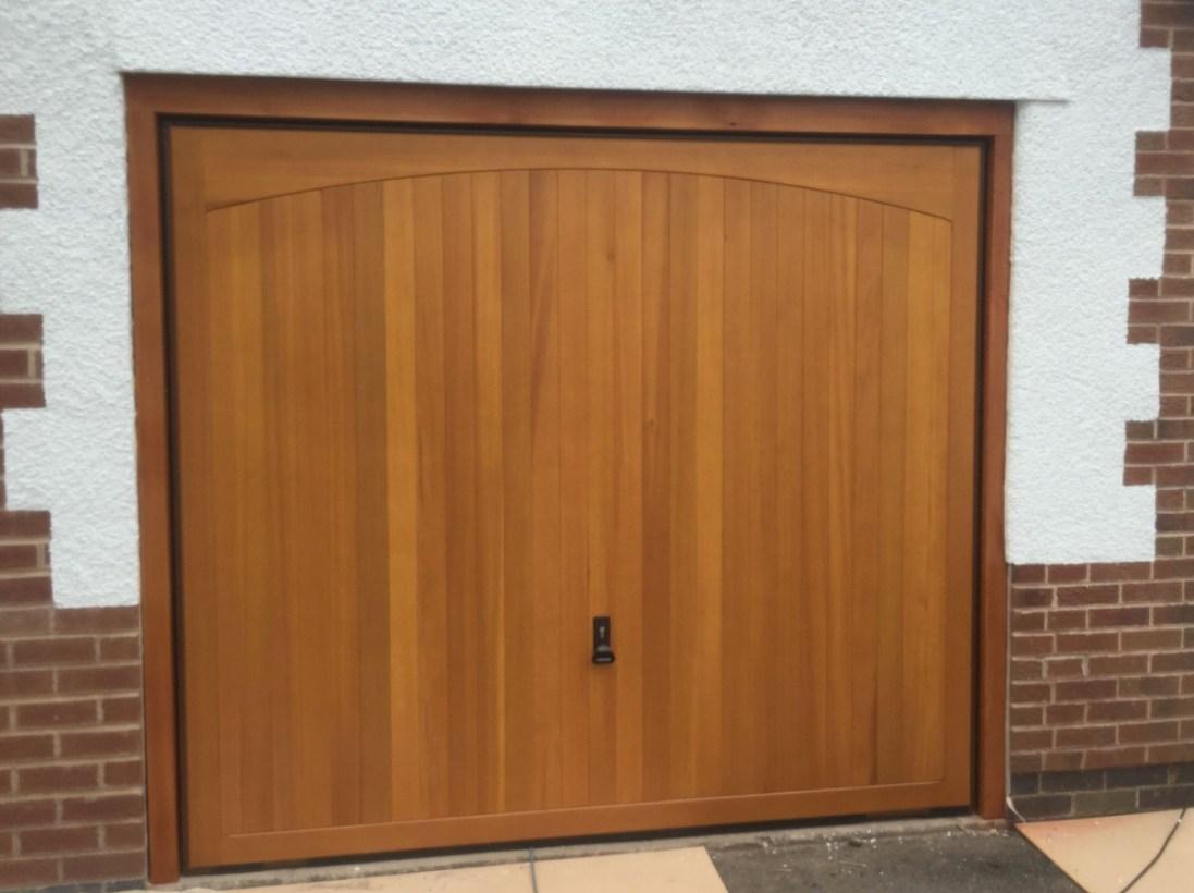 Vertical Ribbed wooden garage door