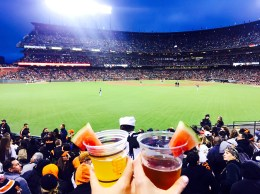 cheers-ing los gigantes from the bleachers with my non-GF gf (left) & me with my watermelon-crowned redbridge (right)