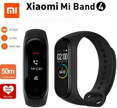 Xiaomi Mi Band 4 activity bracelet in front and side view with the characteristics of water resistance, battery life, and heart rate sensor