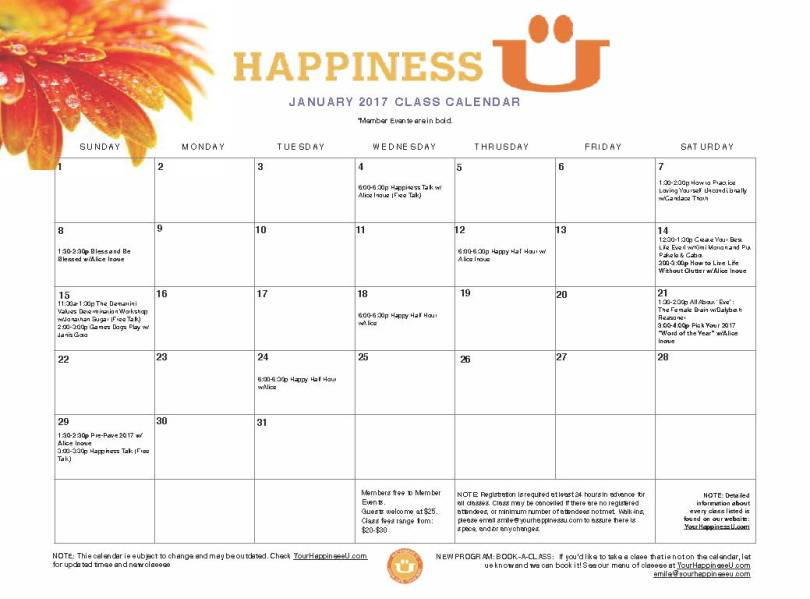 Happiness U January 2017 Classes, Your Happiness U Classes