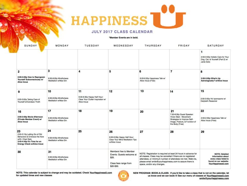 Happiness U Class Calendar July 2017