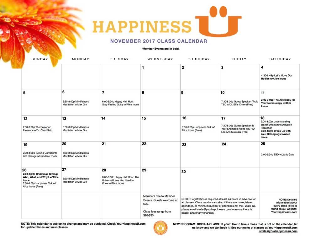 Happiness U Class Calendar November 2017